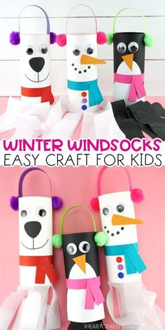 Fun and easy winter windsocks crafts for kids to make. Use our free template to create a snowman, penguin or polar bear windsock for a winter kids craft. Crafts winter Winter Windsock Craft for Kids Animal Crafts For Kids, Winter Crafts For Kids, Paper Crafts For Kids, Winter Kids, Crafts For Kids To Make, Craft Kids, Snow Crafts, Diy Crafts, Craft Activities