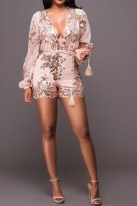 Plunge Neck Long Sleeve Sequined Romper_Rompers_BOTTOMS_Dress Top Swimsuit Bottom Skirt Jumpsuit Romper