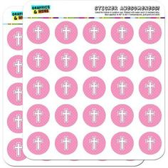 Cross Pink Baby Girl Christening Baptism Shower 50 1 inch Planner Calendar Scrapbooking Crafting Stickers, Clear