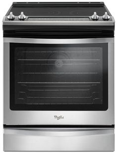 "Whirlpool WEE745H0FS 30"" Slide-in Electric Range with Smoothtop Cooktop, Storage Drawer, 6.4 cu. ft. Primary Oven Capacity, Convection, Delay Bake, Self-Cleaning Mode, True Convection Cooking, FlexHeat™ Element, AquaLift® Self-Cleaning Technology in Stainless Steel"