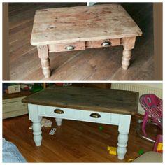 Antieke grenen salontafel omgetoverd tot mooie tafel van nu.. met behoud van zijn oude look..