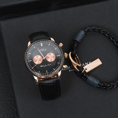The Kingston black rose together with the Black wrap leather bracelet ⌚️ #grandfrankwatches www.Grandfrank.com