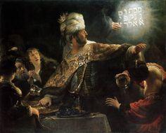 REMBRANDT Harmenszoon van Rijn:  Belshazzar's Feast,  c. 1636,  Oil on canvas, 168 x 209 cm,  National Gallery, London