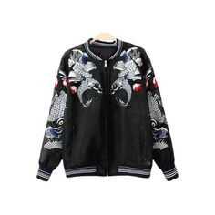 Black Pockets Fish Embroidery Organza Jacket ($71) ❤ liked on Polyvore featuring outerwear, jackets, embroidered jacket, pocket jacket, embroidery jackets and organza jacket