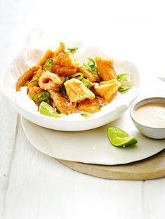 Spiced Polenta Calamari with Tamarind Crème Fraîche By MiNDFOOD