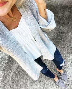 Grey, white and dark jean. I like the cut of the top and the dwatiling. This would be an outfit I'd wear.