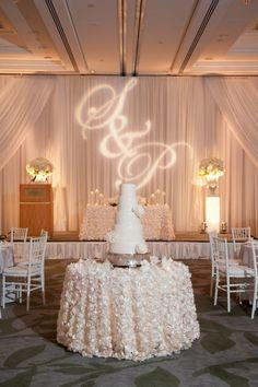 photographer: Jasalyn Thorne Photography; Wedding reception cake table idea;