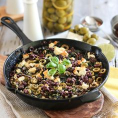 Ground Beef, Kale, Olives and Goat Feta Cheese combined in one extremely tasty, nutritious and satisfying single skillet dish.