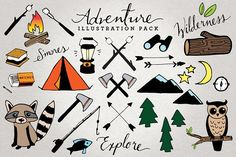 Adventure & Camping Illustration Set by Lemonade Pixel on @creativemarket