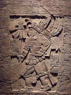 The Sak Tzi Lintel Stela showing armed ruler with jaguar skin jerkin Mexico Late Classic Maya 864 CE Limestone