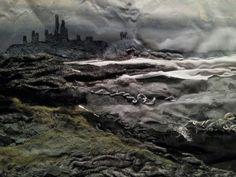 Dunstanburgh castle in progress. ..Laura Edgar #textile art # collage #mixed media.  www.lauraedgar.co.uk