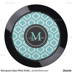 Monogram | Aqua White Trellis Pattern USB Charging Station