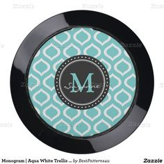 Monogram | Aqua White Trellis Pattern USB Charging Station