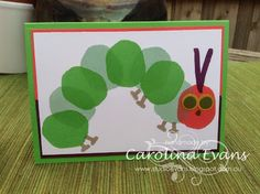 Layered Letters Alphabet made into the Very Hungry Caterpillar in Cucumber Crush & Watermelon Wonder, punch art eyes using Stampin' Up! Products, Carolina Evans, 2015-2016 Annual Catalogue, #stampinup