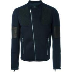 Neil Barrett panelled biker jacket Vinicio (2,560 CAD) ❤ liked on Polyvore featuring outerwear, jackets, men, panel jacket, neil barrett, blue moto jacket, motorcycle jacket and biker jacket