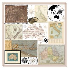 """Vintage Maps Of Australia"" by loveartrecyclekardstock ❤ liked on Polyvore featuring art and vintage"