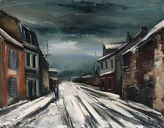 Maurice de VLAMINCK (1876-1958)   Paysage de neige avec personnages