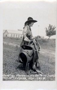 Dorothy Morrell and her prize winning saddle - Cheyenne Frontier Days 1914