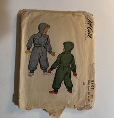 Pattern # 5831 McCalls. 1940s WW11 snowsuit and cap pattern. Too cute!  Size 6   Pattern is cut, complete, and in good condition. Envelope