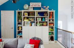 ikea billy hack doors How to Refresh a Room in an Hour - via MakelyHome.com Ikea Billy Hack, Ikea Billy Bookcase, Decorating Bookshelves, Play Spaces, Playroom Decor, Spare Room, Nest, Master Bedroom, Sweet Home