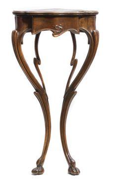 Art Nouveau walnut corner console