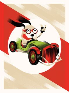 Dog race car antique screen print poster