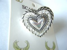 Puffy Heart Scarf Ring Silver Tone Metal Clear Stones New In Package