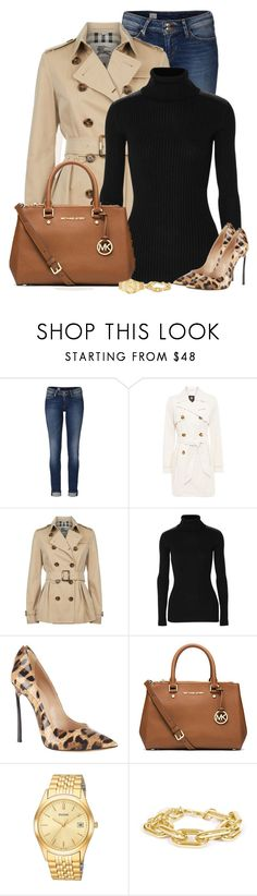 """""""Untitled #513"""" by denise-schmeltzer ❤ liked on Polyvore featuring Tommy Hilfiger, Halifax Traders, Burberry, Autumn Cashmere, Casadei, MICHAEL Michael Kors, Pulsar and Towne & Reese"""