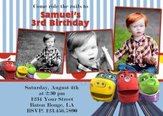 Chuggington Birthday Invitation / by lullabiesnlaughter on Etsy, $10.99