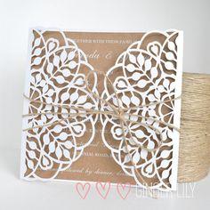 Rustic Laser Cut Wedding Invitation Handmade Sample - White Print