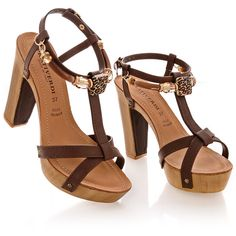 PRATIVERDI IRENE Brown Platform Sandals (€95) ❤ liked on Polyvore featuring shoes, sandals, heels, обувь, brown sandals, high heel shoes, wood heel sandals, embellished sandals and platform sandals