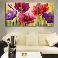 Amazon.com - 3 Piece Hand Painted Art Canvas Set Modern Abstract Oil Painting on Canvas Wall Art Deco Home Decoration Flower in Bloom 3 Pic/set Stretched Ready to Hang - Canvas Paintings For Wall