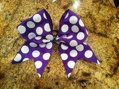 Purple Glitter Dots Cheer Bow by SavvysCheerBowtique on Etsy