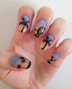 The psychedelic Coachella skyline inspired this boho-chic nail art. #Festival #NailDesigns
