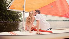 Sweet engagement photos … in the woods + sea!