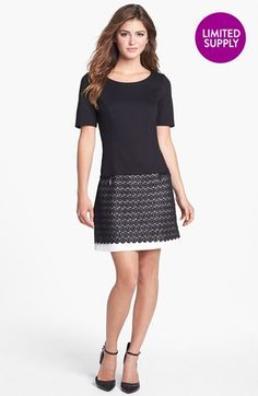 Laundry by Shelli Segal Mixed Media Shift Dress available at #Nordstrom