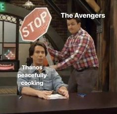 See more 'Thanos Making Breakfast' images on Know Your Meme! Marvel Quotes, Funny Marvel Memes, Dc Memes, Avengers Memes, Funny Memes, Hilarious, Funny Comedy, Marvel Fan, Marvel Avengers