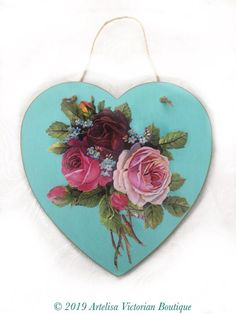 Duck Egg Blue Hanging Wooden Wall Plaque Shabby Chic with Four White Hearts