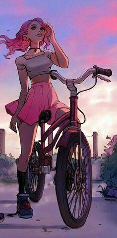 БУДЬ ЧУДОМ She looks like Toni from Riverdale O.O Bicicleta Mulher Personagem Cute Girl Drawing, Cartoon Girl Drawing, Girl Cartoon, Cool Art Drawings, Art Drawings Sketches, Pretty Art, Cute Art, Image Manga, Digital Art Girl