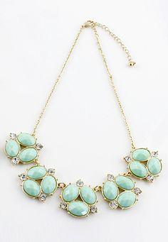 Green Gemstone Gold Crystal Chain Necklace - Sheinside.com