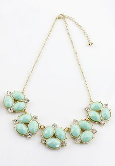 Green Gemstone Gold Crystal Chain Necklace US$7.51