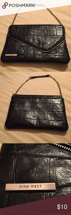 Nine West Handbag Black embossed exposed zipper chain link shoulder strap. Nine West Bags Clutches & Wristlets