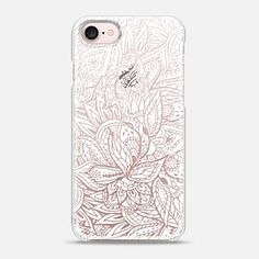 iPhone 7 Case Modern white paisley handdrawn pattern transparent by Girly Trend