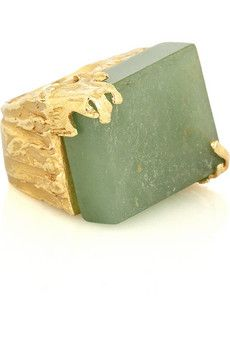 Yves Saint Laurent aventurine ring. Sadly, no longer available.  #gold, #rings, #jewelry