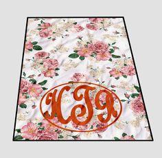 Custom Floral vintage monogram Blanket