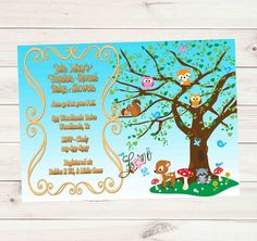 Woodland Animals Rustic Chic Blue Sky Baby Shower or Birthday Invitation - Custom Printable