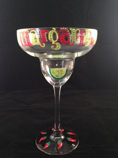 Happy Margaritamas Margarita glass from Pink Poodle Designs Etched Wine Glasses, Decorated Wine Glasses, Hand Painted Wine Glasses, Wine Glass Crafts, Wine Craft, Pebeo Porcelaine 150, Funky Glasses, Margarita Glasses, Wine Painting
