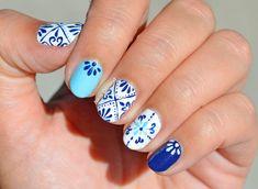 Nailpolis Museum of Nail Art Moroccan Tiles Design by NailsContext Toe Nail Art, Easy Nail Art, Nail Manicure, Gel Nails, Acrylic Nails, Blue Nail Designs, Nail Patterns, Pattern Nails, Flower Nail Art