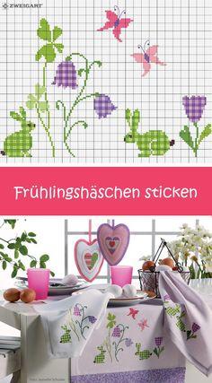 Tischdekoration für Ostern mit Hasen und Schmetterlingen sticken #Sticken #Kreuzstich / #Ostern; #Embroidery #Crossstitch / #Easter/ #ZWEIGART
