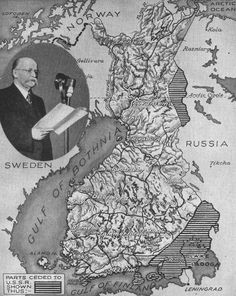 RUSSIA AND FINLAND MAKE PEACE  For 104 days the Finns stood up to the enormous power of the Red Army. Then with their Mannerheim Line irretrievably breached they made peace. The terms differed from those offered by Russia before hostilities began chiefly in that no Russian territory was ceded in return for that seized. As seen on this map, Finland ceded the whole Karelian Isthmus, an area in Central Finland and part of the Rybachi Peninsula.